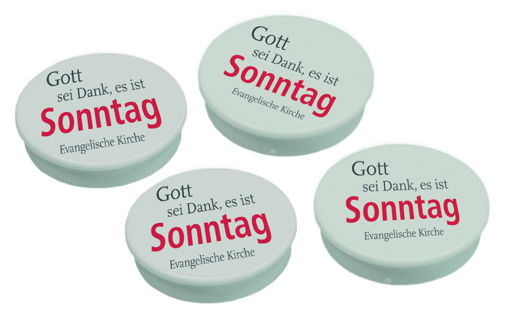 "Sonntags-Initiative: Magnete ""Gott sei Dank, es ist Sonntag"""