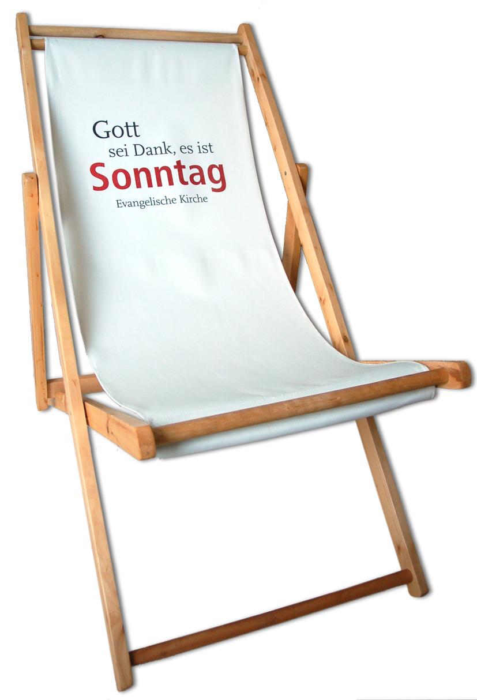 """Liegestuhl """"Gott sei Dank, es ist Sonntag"""""""