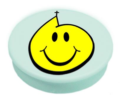 Magnete mit Kirchen-Smiley