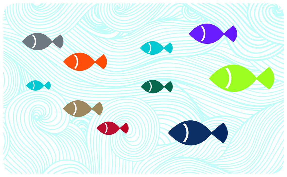 Frühstücksbrettchen Fische