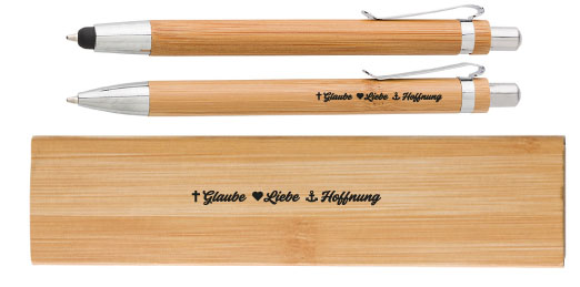 Bambus-Schreibset Glaube Liebe Hoffnung