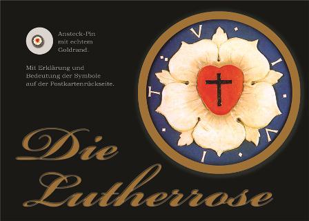 Lutherrose Postkarte mit Ansteckpin 15 mm