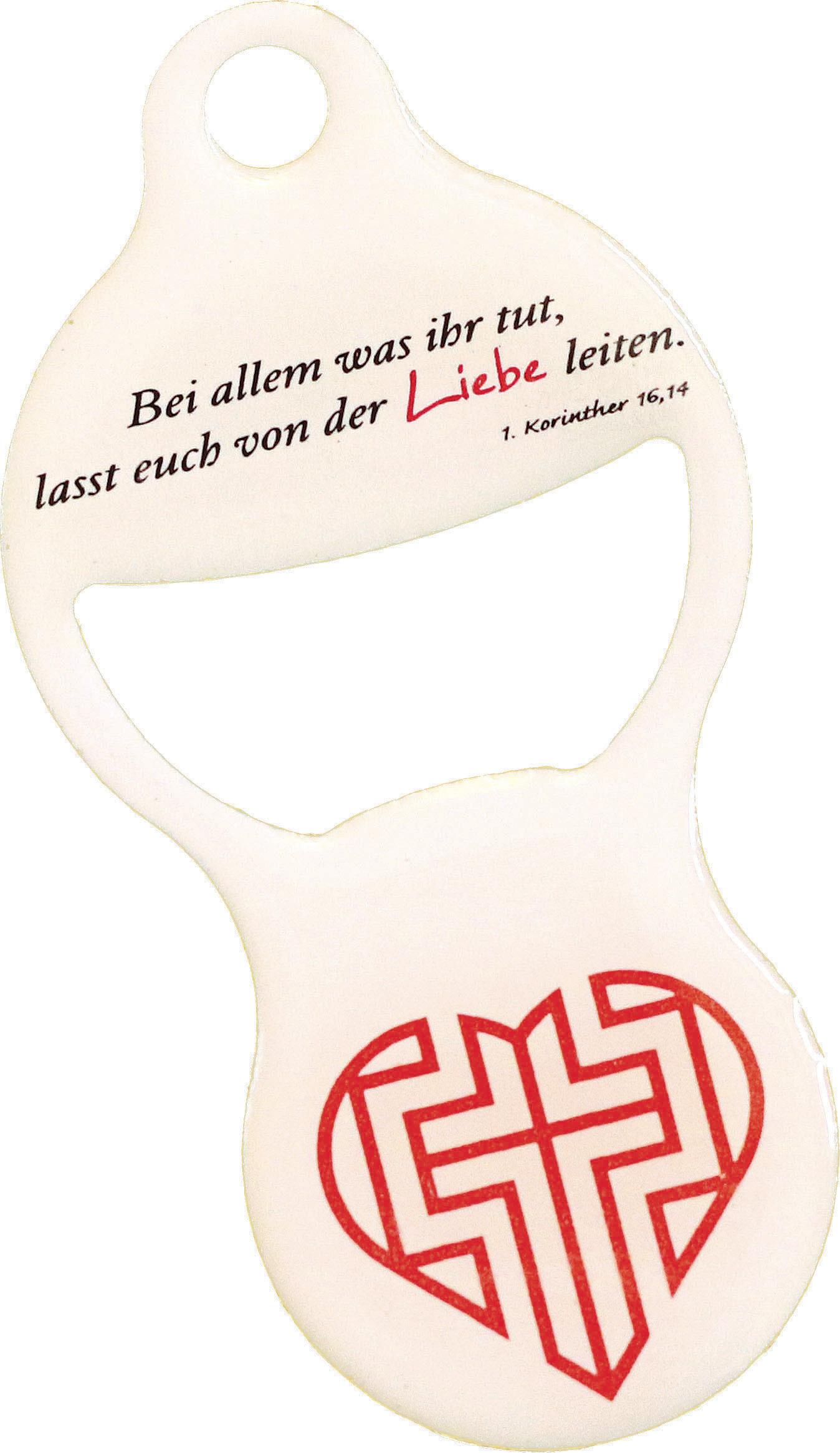 """Einkaufswagenöffner """"Kreuz im Herz"""""""