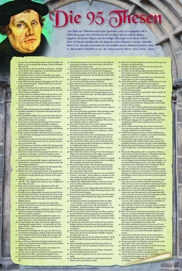 Plakat: Die 95 Thesen Martin Luthers