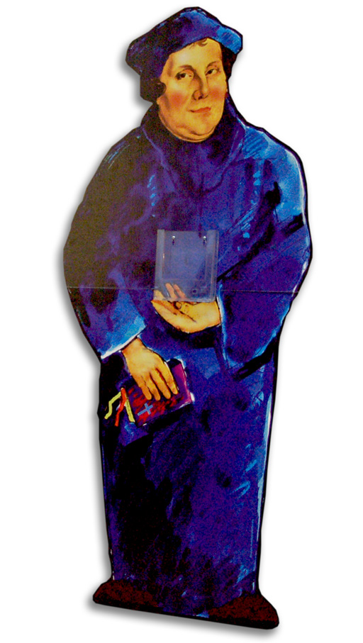 Standfigur Martin Luther + Din lang Prospekthalter